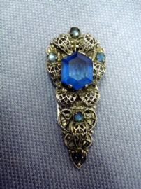 Art Deco Chrome Dress Clip with Blue Jewelled Stones (SOLD)